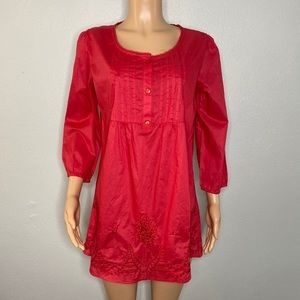 Art and Soul Red Embroidered 3/4th Sleeved Top L
